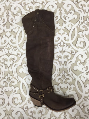 Liberty Black Toccato Chocolate Thigh High Boot
