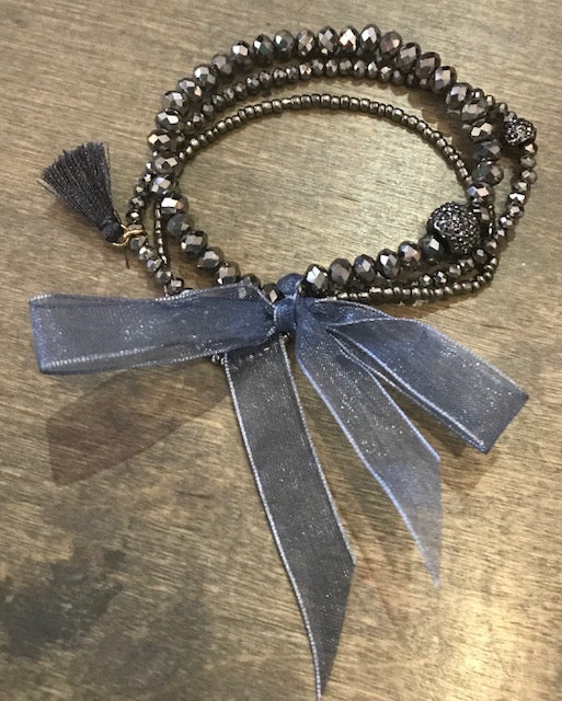 Beaded Bow Tassel Bracelet