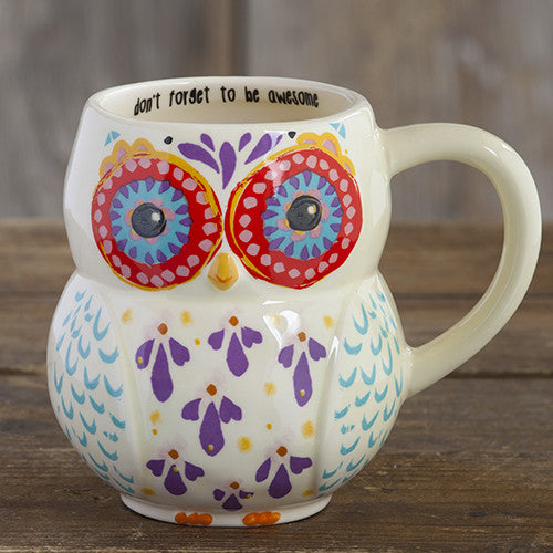 Natural Life Don't Forget To Be Awesome Owl Mug