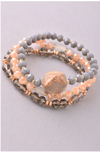 Natural Stone Crystal Beaded Stretch Bracelet