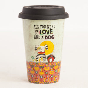 Natural Life Love And A Dog Thermal Mug