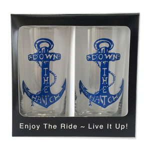 Down The Hatch Anchor 12oz Glassware (Set of 2)