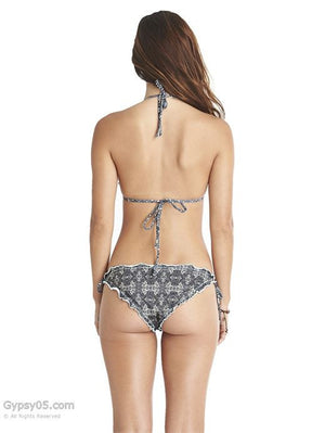 Printed Ruffled Triangle Bikini Bottom