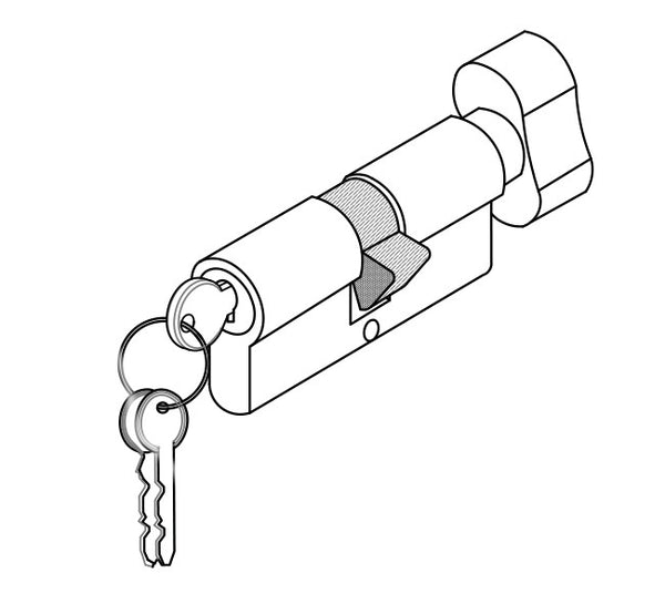 DORMA EURO PROFILE CYLINDER 5 PIN ONE SIDE KNOB AND OTHER SIDE KEY XL - C