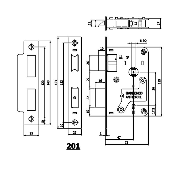 Link Locks Lever Mortise Lock 6 Levers (201)
