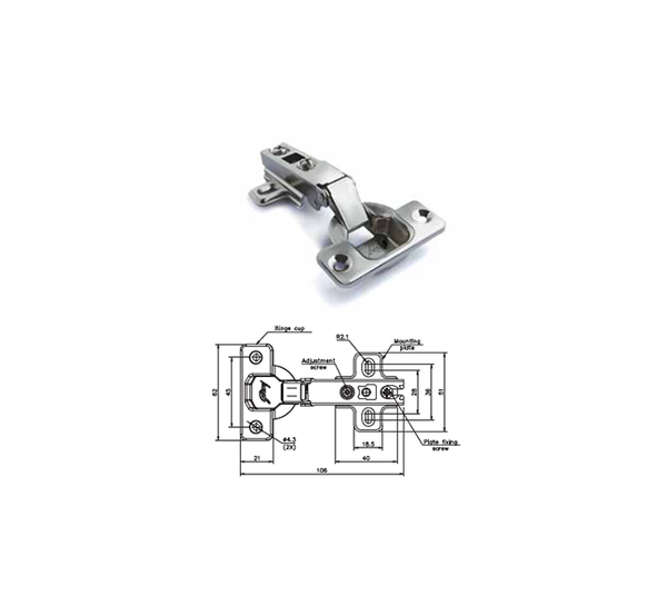 Godrej Furniture Fittings Slip on Hinge