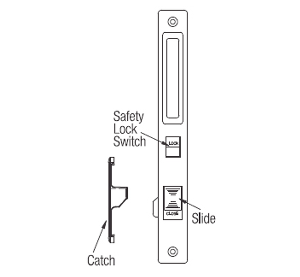 Ebco Sliding Window Latch - Slide Catch (with SWL 4-C) - SWL 4 - Set of 2