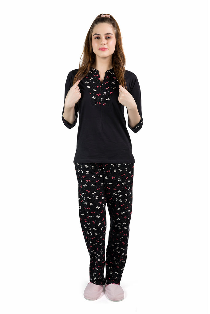 Black Cute Bows Pyjama Set