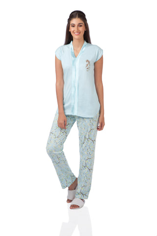 Blue Japanese Cherry Blossom Pyjama Set
