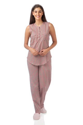 Sleeveless Abstract Pyjama Set