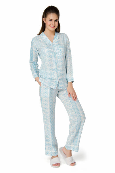 Azure Blue Wild Flowers Pyjama Set