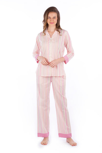 Peach Pink Stripes Pyjama Set