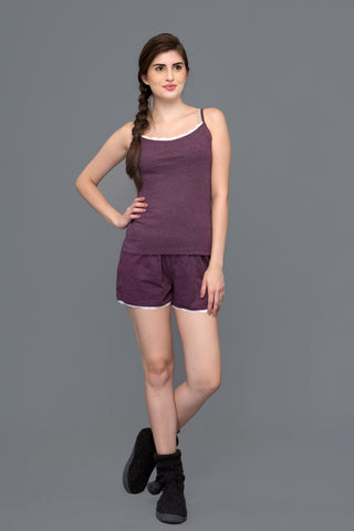 Sultry Grape Wine Shorts Set