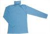 Blue Melange Polo Neck Top