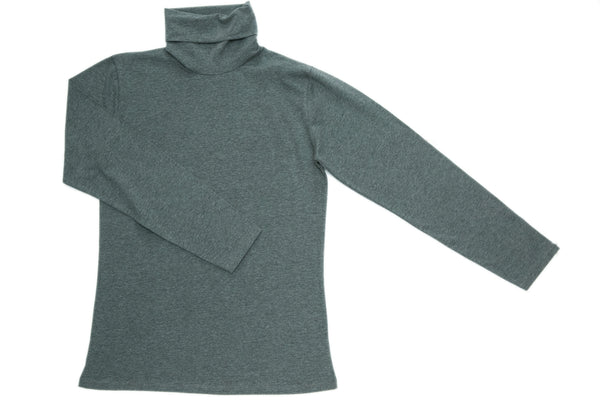 Grey Polo Neck Top