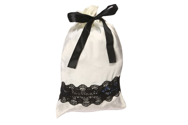 Luxury Satin with Lace Lingerie Bag (Cream)