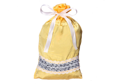 Luxury Satin with Lace Lingerie Bag (Sunflower Yellow )