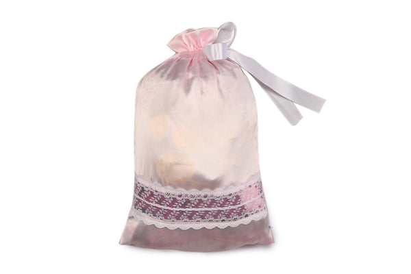 Luxury Satin with Lace Lingerie Bag (Pink)