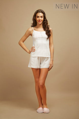 White Pearl Shorts Set