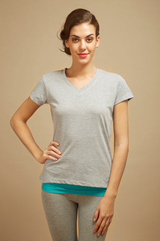 Grey V-neck Lounge Tee