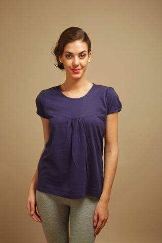 Navy Blue Pleated Lounge Tee