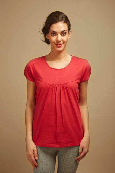 Red Pleated Lounge Tee