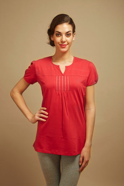 Red Embroidered Lounge Tee