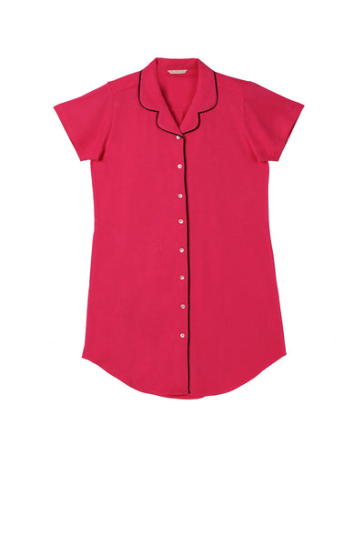 Hot Pink Twilight Blush Buttoned- Down Nighty