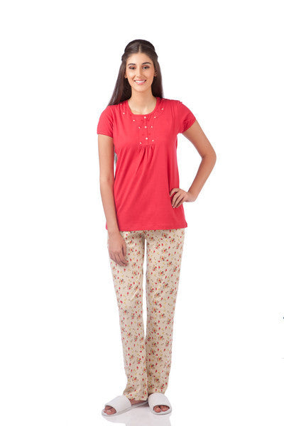 Red Daisy Pyjama Set