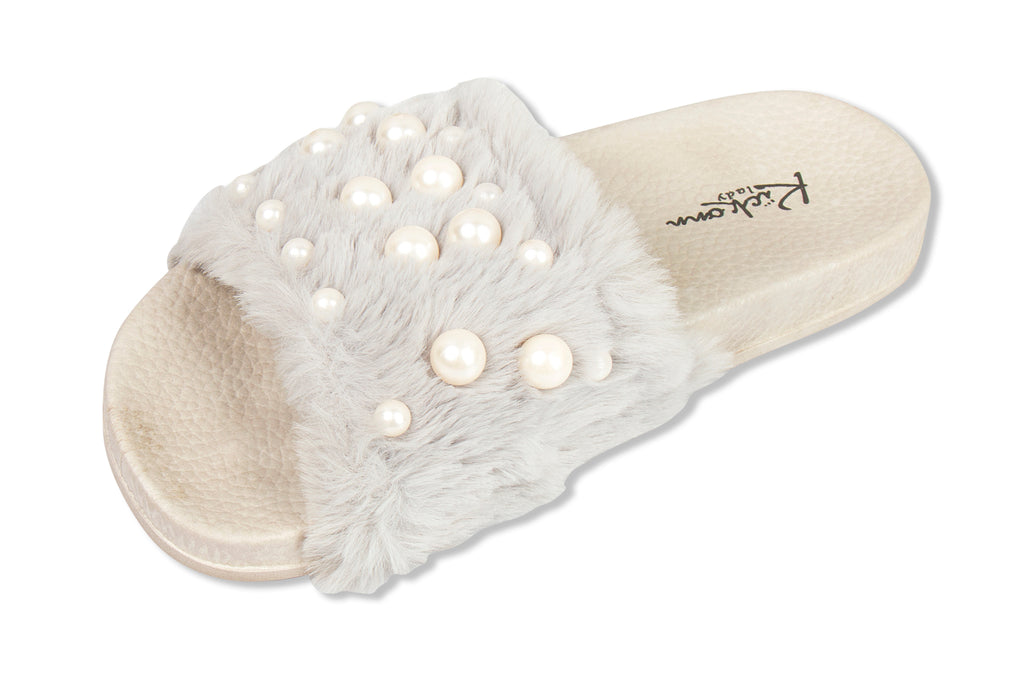 Faux Fur with Pearls  Slides- light grey