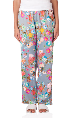 Blue Shadow Satin Floral  Pyjamas