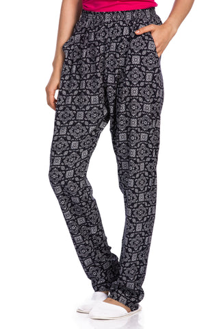 Abstract Navy & White Cuff Pants