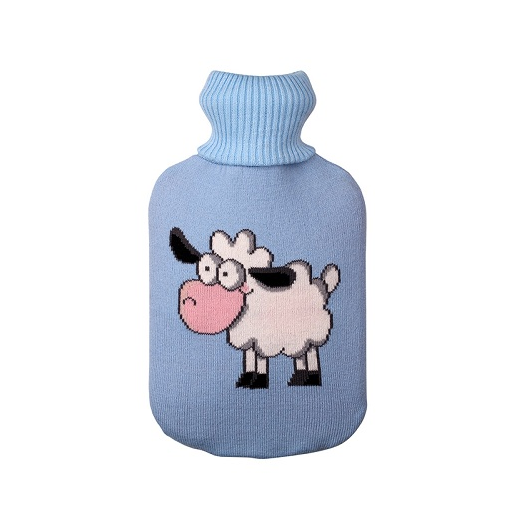 Creative Cartoon Hot Water Bottle Bag Cover Warm Knit Bag Blue