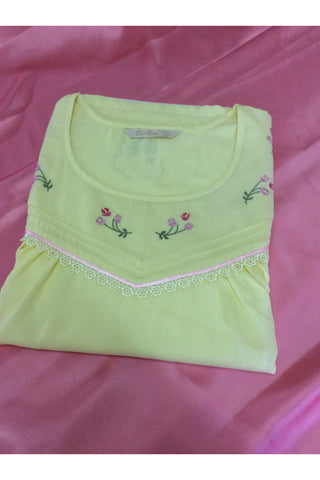 Cotton Embroidery Green Nightdress