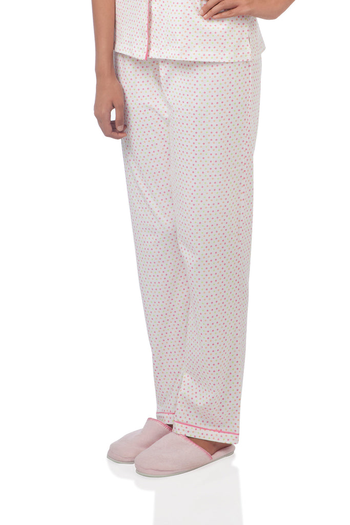White Polka Dotted Pyjama Set
