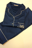Navy Satin Pj Set