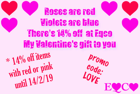 Eqco Valentine's Day 14% Off Pink And Red Promo