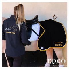 Eqco Black Doesitall Gold Binding Embroidery Black Softshell Jacket Gold White Embroidery