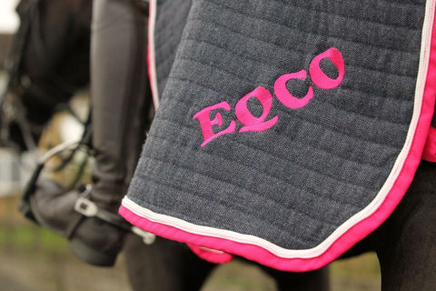 Eqco Grey Quarter Sheet With Pink Binding and Pink and White Piping