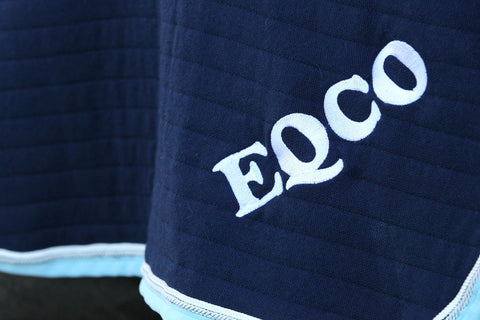 Eqco Navy Blue Quarter Sheet With Baby Blue Binding and White Piping