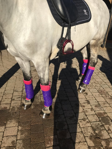 Eqco Pink Bandage Pads with Purple and Gold Glitter Bandages
