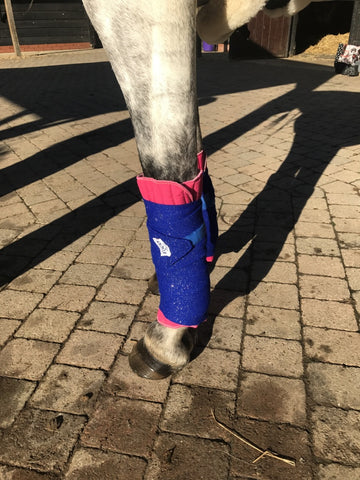 Eqco Pink Bandage Pads with Royal Blue and Gold Glitter Bandages