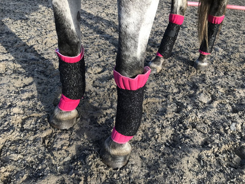 Eqco Pink Bandage Pads with Black and Silver Glitter Bandages
