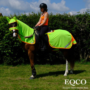 Eqco Sale Horse Neon Yellow Neon Orange Binding Neck Cover Mesh Fly Sheet