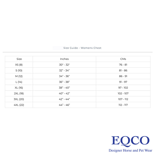 Eqco Personalised Short Sleeved T-Shirts Size Guide