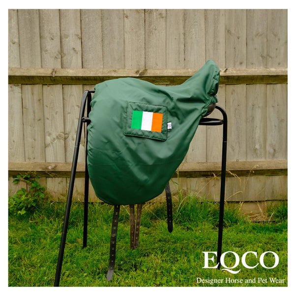 SALE Green Saddle Cover With Irish Flag Embroidery