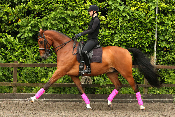 Neon Pink With Silver Glitter Horse Bandages