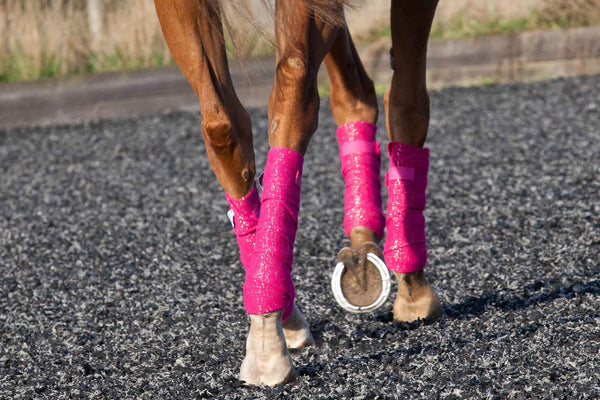 Pink With Gold Glitter Horse Bandages