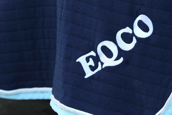 Eqco Navy Doesitall Quarter Sheet With Baby Blue Binding White Silver Piping