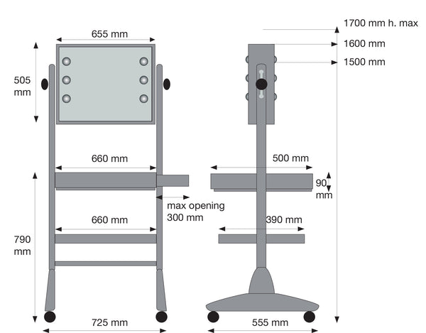 L400X2 Makeup Workstation - dimensions